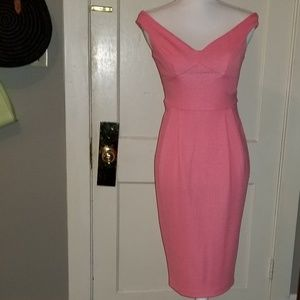ASOS Coral Off-Shoulder Bardot Fitted Midi Dress